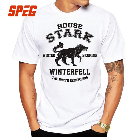 Winter Game of Thrones GOT House Stark Winter is Coming Winterfell Vintage O Neck Tees  Vintage T Shirt Adult Cotton Short Sleeve T-Shirt AT_77_7