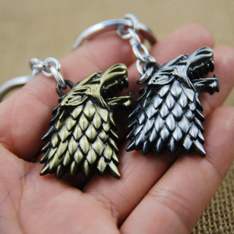 Winter Game of Thrones GOT Movie  Stark Family Flag Keychain Vintage Stark Wolf Head Pendant Key Chain Men Jewelry Women Bag Accessories AT_77_7