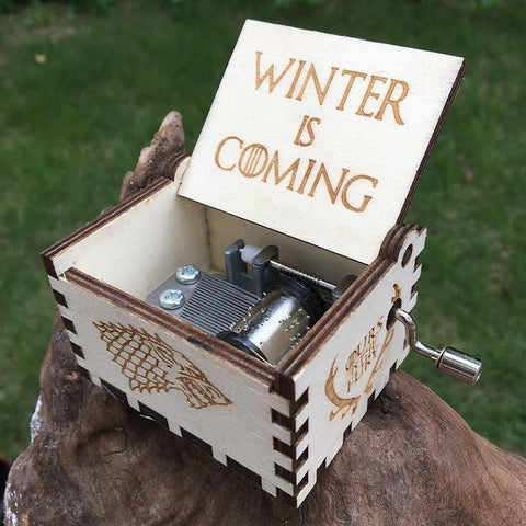 Winter Game of Thrones GOT Creative Antique carved wooden  music box  Hand Cranked,Christmas gift, new year gift, birthday gift AT_77_7