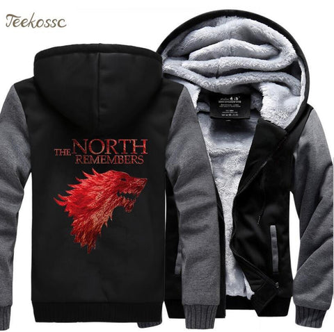 Winter Game of Thrones GOT  Hoodies Swetshirts Men The North Remembers House Stark Hoodie 2018 New Winter Warm Fleece Thick Jacket Coat Male AT_77_7