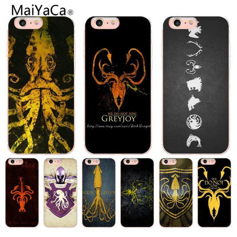 Winter Game of Thrones GOT    house greyjoy Transparent Coque Shell Phone Case  for iPhone 8 7 6 6S Plus 5 5S SE 5C Coque Shell AT_77_7