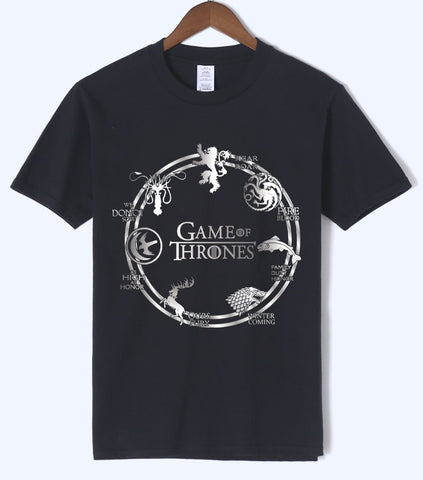 Winter Game of Thrones GOT  Men's tshirt 2018 Summer Hip Hop Men's Short Sleeve shirt 100% Cotton Men t shirt streetwear fit With Sunglasses AT_77_7
