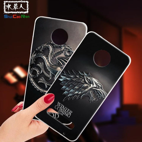 Winter Game of Thrones GOT ShuiCaoRen Silicone Cases For Motorola Z2 Play Case  Black Shell For Moto Z2 Play Cover AT_77_7