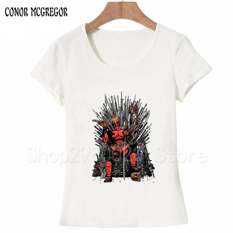 Winter Game of Thrones GOT Newest Fashion Cool Deadpool on the Iron  Design T-Shirt Summer Women's  T Shirt Harajuku Punk Tee Tops AT_77_7