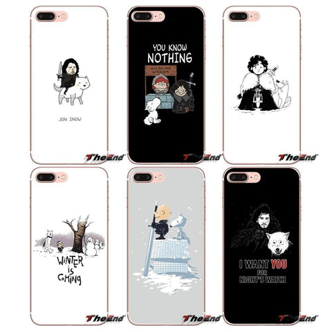Winter Game of Thrones GOT For Samsung Galaxy Note 3 4 5 Grand Core Prime S3 S4 S5 MINI S6 S7 edge S8 S9 Plus  Jon Snow  GOT Dogs St Case AT_77_7