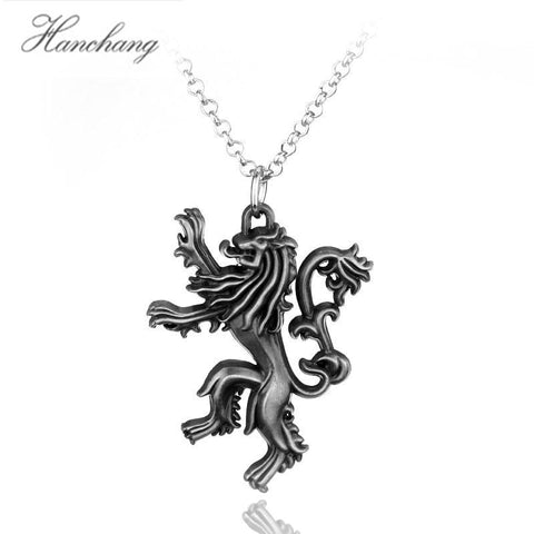 Winter Game of Thrones GOT HANCHANG TV Series  Necklace Lannister Family Lion Logo Pendant Link Chains Necklace for Men Vintage Party Gift AT_77_7