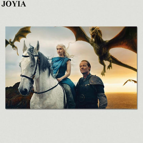 Winter Game of Thrones GOT  Wall Poster, Season 7 Emilia Clarke Daenerys Targaryen Picture, Jorah Mormont Dragon Wall Art Posters Prints AT_77_7