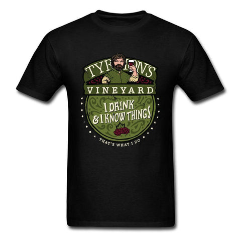 Winter Game of Thrones GOT I Drink I Know Things T Shirt  T-shirt Men Tshirt Summer Tees Cotton Tops Black Clothing Funny Saying AT_77_7
