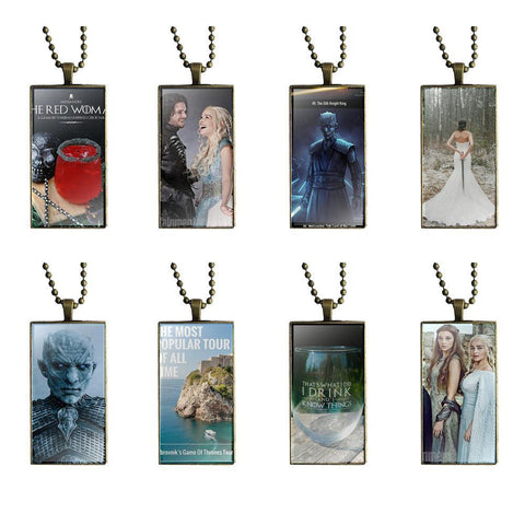 Winter Game of Thrones GOT EJ Glaze Necklace Fashion Long Chain With Rectangle Necklace Jewelry For Wedding  Case AT_77_7