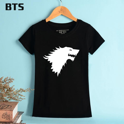 Winter Game of Thrones GOT BTS  Summer T-shirt Women Brand Tees  Short Sleeve Winter Is Coming Family Badge Breathable Cotton Girl Tshirt AT_77_7