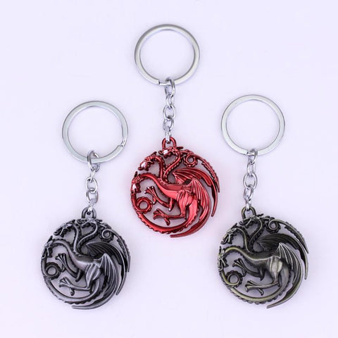 Winter Game of Thrones GOT 2018  House Targaryen Keychain Silver gold red Metal Key Ring AT_77_7