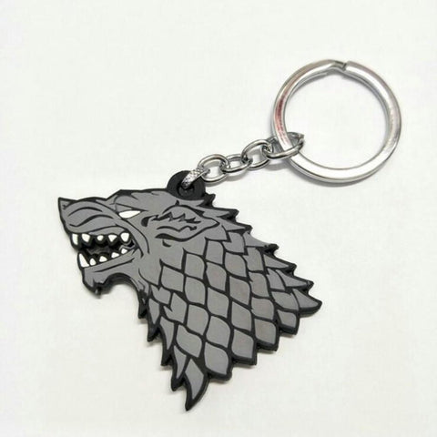 Winter Game of Thrones GOT  Cosplay PVC Keychain House Stark  Winterfell Wolf's head Pendant Doll Toy Cute Llavero Chaveiro jewelry bijoux AT_77_7