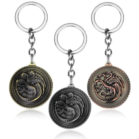 Winter Game of Thrones GOT Movie Seriers    House Stark keychain 3 Colors Alloy The Song  Ice and Fire Targaryen Dragon Badges Keyring Gift AT_77_7