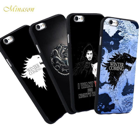 Winter Game of Thrones GOT Minason  Map Case For iPhone X 5 S 5S 6 6S 7 8 Plus Cover Jon Snow Capa Black St TPU Phone Capinhas de Celular AT_77_7