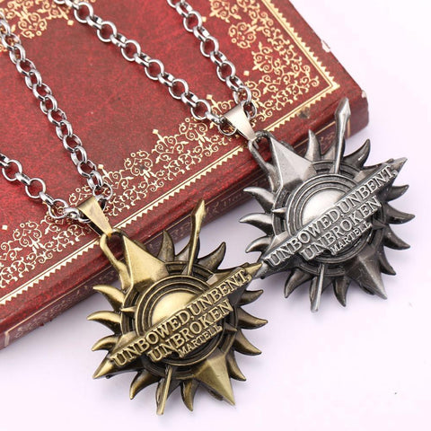 Winter Game of Thrones GOT ZIDOM   House Martell  Unbent, Unbowed, Unbroken Metal necklace Collier sun pendant Necklace for Drama lovers AT_77_7