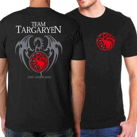 Winter Game of Thrones GOT  Targaryen Fire & Blood T Shirt Men 2018 Summer Fit Slim Men T-Shirts 100% Cotton Men's Sportswear T-shirts Kpop AT_77_7