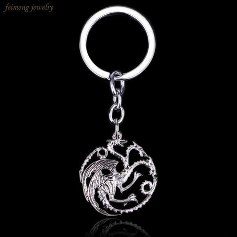Winter Game of Thrones GOT Top Grade Quality  Targaryen Dragon Keychain Vintage Antique Silver Pendant Key Chains AT_77_7