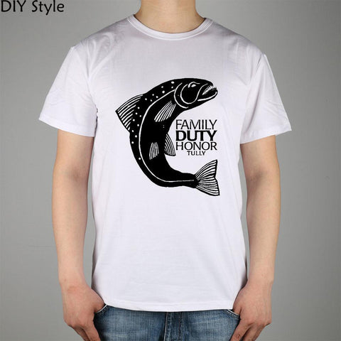 Winter Game of Thrones GOT  Riverrun fish TULLY family duty honor T-shirt cotton Lycra 8232 Fashion Brand t shirt men new high quality AT_77_7