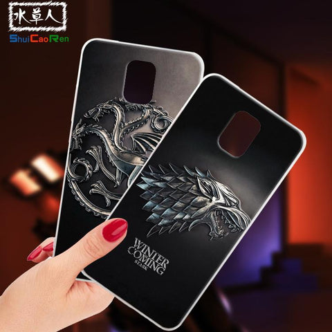 Winter Game of Thrones GOT ShuiCaoRen Silicone Cases For Samsung galaxy Note 3 Case  Black Shell For Samsung galaxy Note III Cover AT_77_7