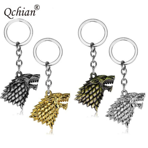 Winter Game of Thrones GOT Men's Gift Four-color Metallic Stark Family Wolf Head Decoration Pendant  Song  Ice and Fire Keychain AT_77_7