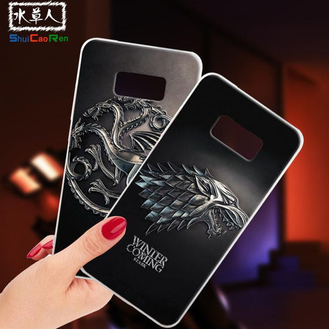Winter Game of Thrones GOT ShuiCaoRen Silicone Cases For Samsung Galaxy S8 Case G9500  Black Shell For Samsung Galaxy S8 Cover AT_77_7