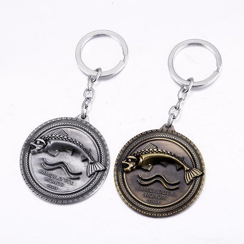Winter Game of Thrones GOT J store The Song  Ice and Fire  House Tully Keychain for Men Women Key Chain 2 Colors Key Ring Jewelry AT_77_7