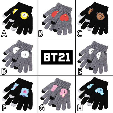 Cool Kpop BTS BT21 Bangtan Boys ARMY VAN MANG CHIMMY TATA COOKY RJ KOYA SHOOKY Knitted Gloves Cosplay Costume Unisex Cute Gift NewAT_93_12