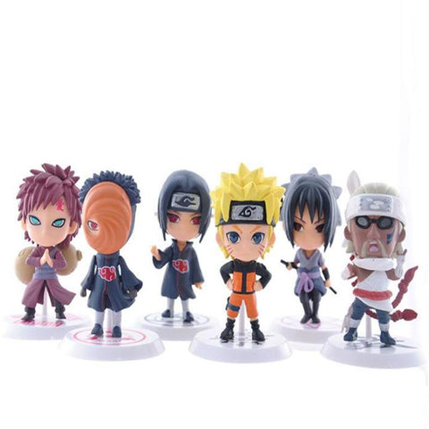 Naruto Sasauke ninja 6pcs/set   model toy car accessories simulation collection toys Anime mini version 19 generation action figure AT_81_8