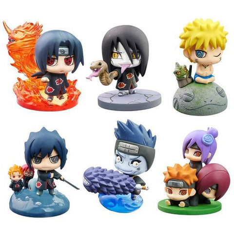Naruto Sasauke ninja 2018 6pcs/set  Sasuke Uzumaki Kakashi Gaara Action Figure With Mounts Japan Anime Collections Toys Gift For Kids #E AT_81_8