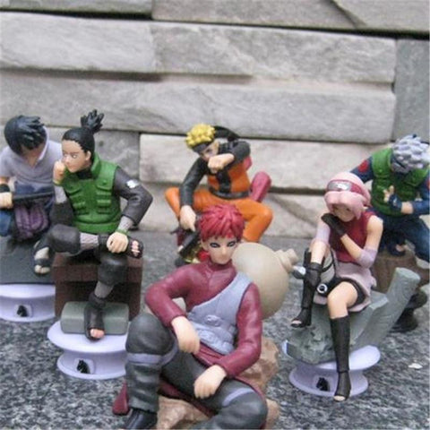 Naruto Sasauke ninja 6pcs/lot  Sakura/Sasuke//Kakashi/Shikamaru/Gaara Anime Toys Action Figure Toys PVC Collections Figures 8cm AT_81_8