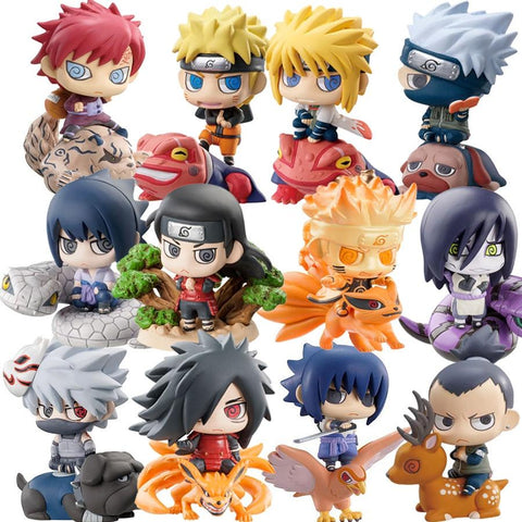 Naruto Sasauke ninja 6pcs/set Pop  Sasuke Uzumaki Kakashi Gaara Action With Mounts Figures Japan Anime Collections Gifts Toys AT_81_8