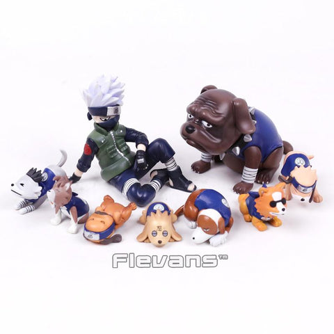 Naruto Sasauke ninja  Shippuden Hatake Kakashi with Eight Ren Dogs Mini PVC Figures Toys 9pcs/set 1.5~7cm AT_81_8