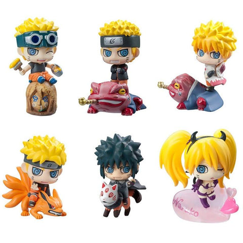 Naruto Sasauke ninja 6pcs/set  Figure Sasuke Kakashi Uchiha Itachi Mounts Gaara Japan Anime Collections Toys Action Figure Gift for Children#E AT_81_8