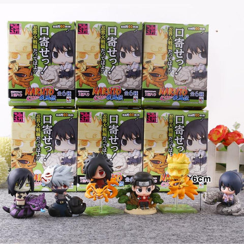Naruto Sasauke ninja 6pcs/set  Cute Version Sasuke Uchiha Itachi Uzumaki  Action Figure Japanese Anime Toys With Nice Package #E AT_81_8