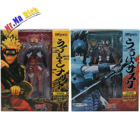 Naruto Sasauke ninja Shfiguarts  Shippuden Uzumaki  / Uchiha Sasuke Pvc Action Figure Collectible Model Toy Dolls 14cm With Box AT_81_8
