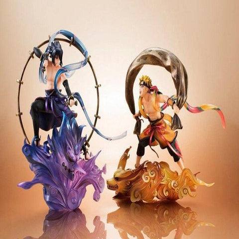 Naruto Sasauke ninja  action figure Uzumaki  & Uchiha Sasuke anime decoration collection figurine peripheral toy gifts boxed Y7345 AT_81_8
