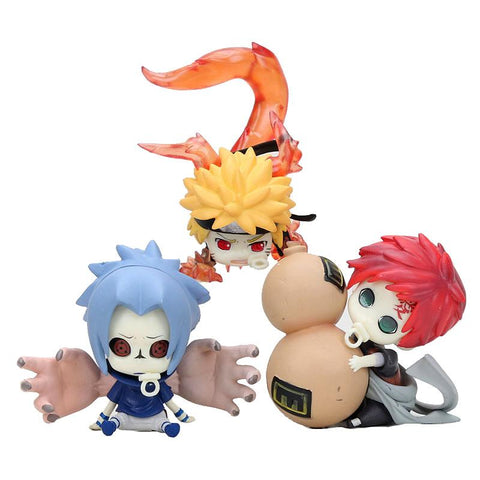 Naruto Sasauke ninja Anime  Action Figure toys 6cm-8cm Q Version Cute  Sasuke Gaara PVC Figures Model Change Face AT_81_8