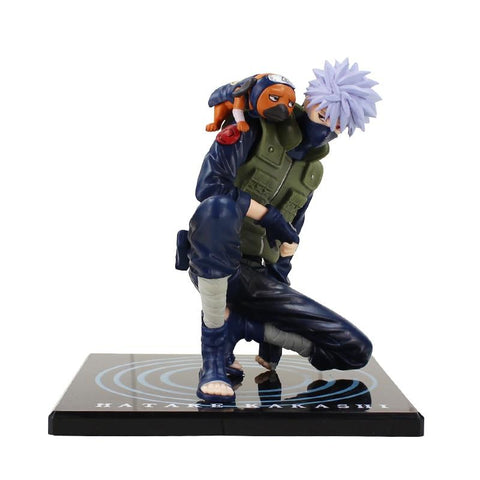 Naruto Sasauke ninja 14cm Japanese Anime New  Shippuden Hatake Kakashi With Ninken Pakkun PVC Action Figure Model Toys Christmas Gifts AT_81_8