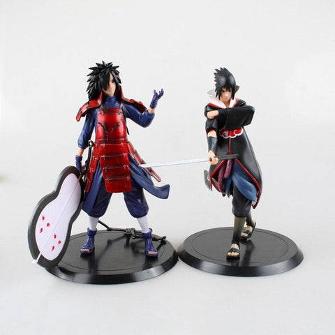 Naruto Sasauke ninja  action figure anime 2 Parts / sets Uchiha Sasuke Uchiha Madara doll decoration pvc collection model toys for gift 18cm AT_81_8