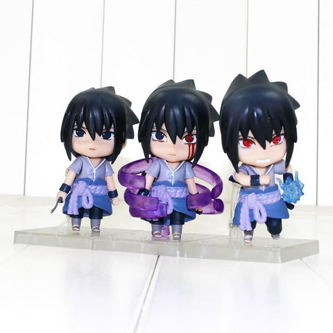 Naruto Sasauke ninja 3pcs/lot 10cm  Shippuden Figure Toy Sasuke Uchiha Model Toys With Bases AT_81_8