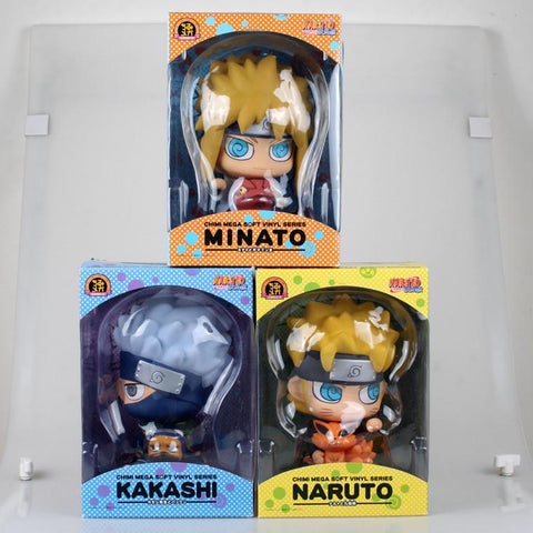 Naruto Sasauke ninja 17cm  Uzumaki Minato Namikaze Kakashi Piggy bank Cartoon Anime Action Figure PVC toys Collection figures for friends gifts AT_81_8