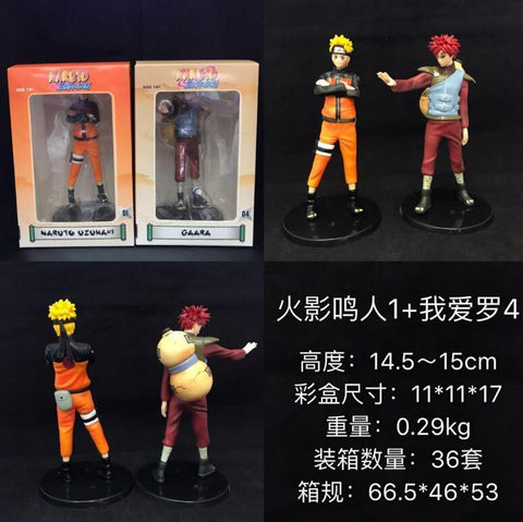 Naruto Sasauke ninja 2pieces/set  Uzumaki  Sabaku no Gaara Cartoon Anime Action Figure PVC toys Collection figures for friends gifts AT_81_8