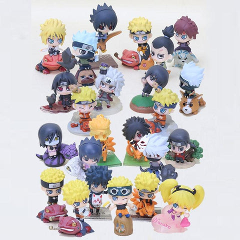 Naruto Sasauke ninja 24pcs/set  Cute Version Sasuke Uchiha Itachi Uzumaki  Action Figure Japanese Anime Toys AT_81_8