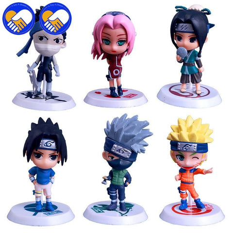 Naruto Sasauke ninja A TOY A DREAM 6pcs/lot Hot  Q Version  Sasuke Yondaime Minato Kyuubi Kurama Naruko PVC Action Figure Model Toys AT_81_8