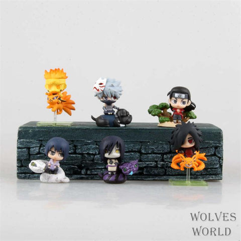 Naruto Sasauke ninja WVW 6pcs/Set Anime Heroes  Kakashi Uzumaki Orochimaru Model PVC Toy Action Figure Decoration For Collection Gift AT_81_8