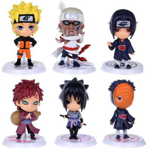 Naruto Sasauke ninja 6pcs 7cm  Hinata Kakashi Sasuke Sakura Cute Action Figure Anime puppets Figure Model Class kid's toy PVC Toys brinquedos AT_81_8
