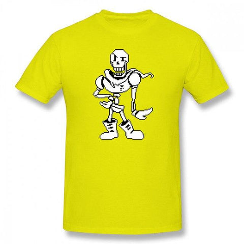 Undertale Sans Papyrus T Shirt Papyrus Pixel Art T-Shirt Cute Print Tee  Shirt 6xl Men Short-Sleeve Streetwear Cotton Tshirt AT_82_8