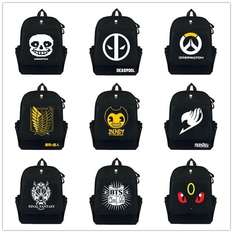 Undertale Sans Papyrus Deadpool  BTS TOTORO NARUTO Pokemon Backpack Bookbag Laptop Shoulder bag Schoolbags Casual Rucksacks Travel Bag AT_82_8