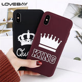 Trendy Lovebay Phone Case For iPhone X 8 7 6 6s Plus King Queen Crown Slim UltraThin Soft TPU Back Cover Cases For iPhone 8 Plus Coque AT_94_13