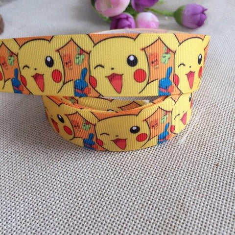 "1 ""25MM new  Japanese cartoon anima 10yard  Cartoon Character printed Grosgrain Ribbon party decoration satin ribbonsKawaii Pokemon go  AT_89_9"